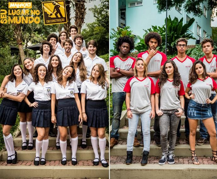 À esquerda, a turma do Leal Brazil; à direita, a galera do Don Fernão (Foto: João Cotta/TV Globo)
