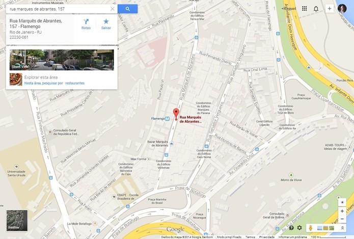 Endereço digitado no Google Maps (Foto: Reprodução/Raquel Freire)