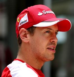 Sebastian Vettel, da Ferrari, em Interlagos, nesta quinta-feira (Foto: Getty Images)