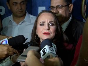 A ex-senadora Serys Slhessarenko foi lançada candidata em Cuiabá (Foto: Reprodução/TVCA)