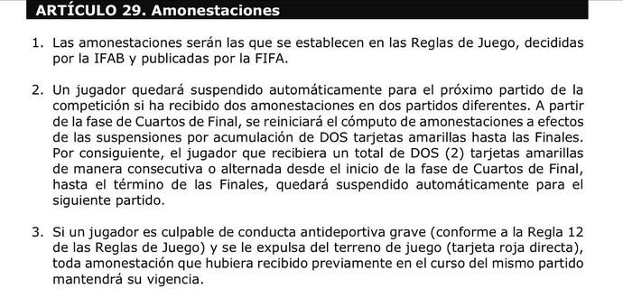 Regulamento da Copa América (Foto: Site da Copa América)