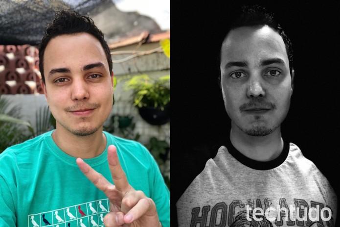 Acreditem: é a mesma pessoa (no caso, eu); segunda foto evidencia tentativa fracassada de remover o fundo e aplicar efeito preto e branco (Foto: Thássius Veloso/TechTudo)