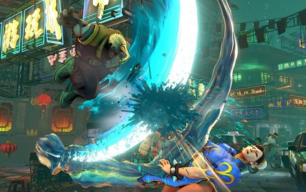 Charlie é considerado o criador do Sonic Boom, famoso golpe de Guile. Na cena, ele luta contra Chun-Li em 'Street Fighter V' (Foto: Divulgação/Capcom)