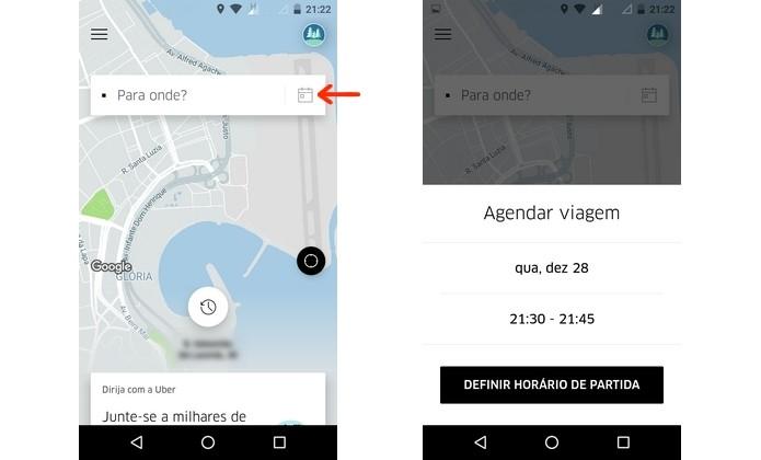 Abertura da ferramenta de agendamento de viagens no Uber (Foto: Reprodução/Raquel Freire)