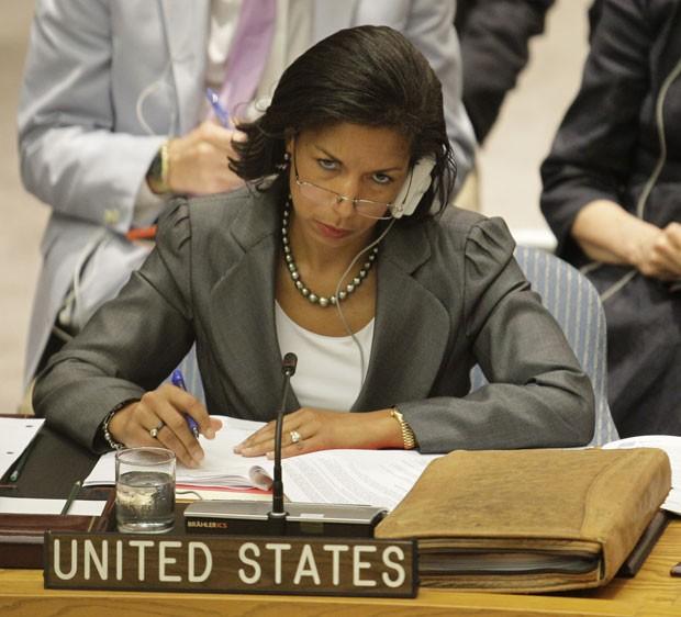Susan Rice, embaixadora dos EUA na ONU, durante reunião do Conselho de Segurança sobre a Síria (Foto: AP)