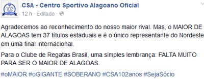 CSA responde provocação do CRB (Foto: Reprodução Facebook)