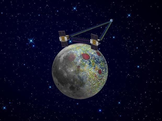 Ilustração mostra como funcionam as sondas 'gêmeas' do Grail (Foto: NASA/JPL-Caltech)