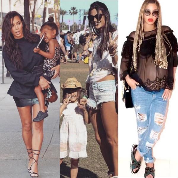 Kim Kardashian, Beyoncé e Alessandra Ambrósio são uma das mães mais estilosas (Foto: Reprodução/ Instagram)