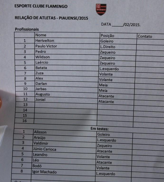 Lista Flamengo-PI (Foto: Renan Morais/GloboEsporte.com)