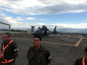 Exército simula chegada do helicóptero do Papa em Aparecida (Foto: Luara Leimig/TV Vanguarda)