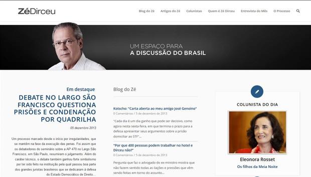 Blog do ex-chefe da Casa Civil José Dirceu (Foto: Reprodução)