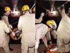 Homens caem no Rio Meia Ponte ao tentar atravessar tubulação, em GO