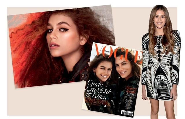 Kaia na campanha atual da Marc Jacobs Beauty, e, ao lado, na capa da Vogue francesa de abril de 2016 ao lado de Cindy (Foto: Gettyimages, Reprodução Instagram e Divulgação)