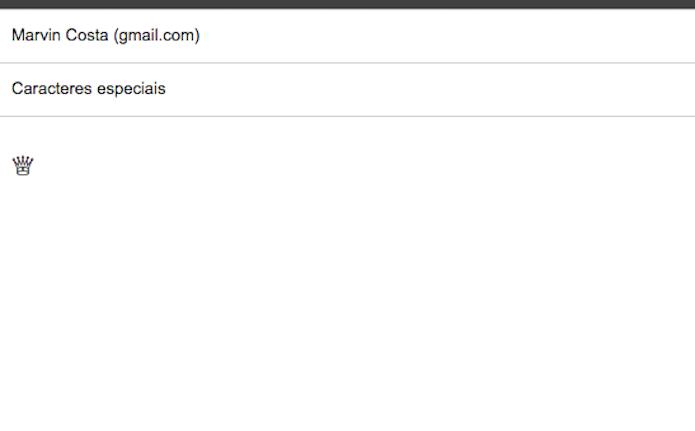 Enviando um caractere especial por e-mail para inseri-lo como atalho do teclado padrão do iOS (Foto: Reprodução/Marvin Costa)