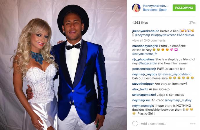 """BLOG: Jhenny Andrade posa ao lado de Neymar e brinca: """"Barbie e Ken"""""""