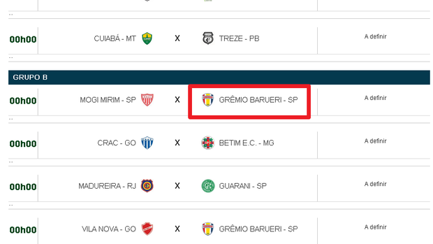 Tabela Série C do Brasileiro Duque (Foto: Reprodução Site CBF)