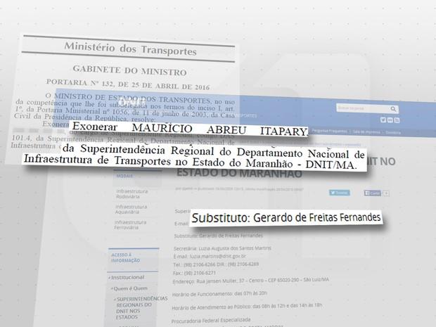 Diário Oficial traz exoneração do superintendente do Dnit-MA (Foto: G1)