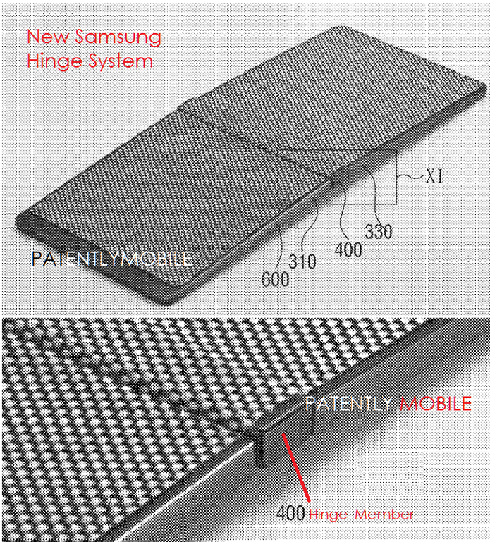 Celular proposto na patente teria mecanismo com dobradiças no meio e material flexível sob a tela (Foto: Reprodução/USPTO)