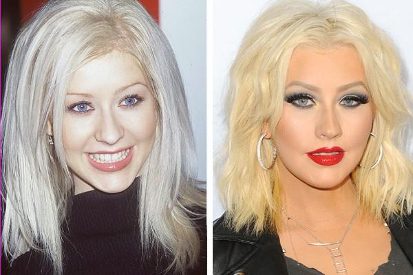 Christina Aguilera em 2000 e em 2015 (Foto: Getty Images)