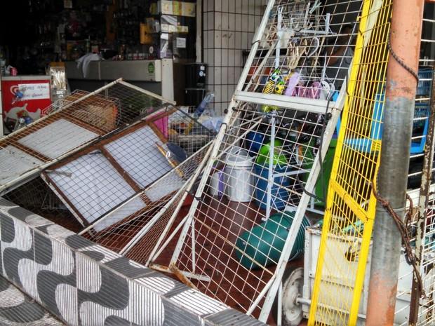 tempestade provoca estragos em mercado atacadista em Santos (Foto: Ivair Vieira Júnior/G1)