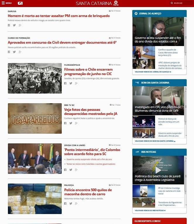 Feed de notícias infinito é uma das novidades (Foto: G1 SC/Reprodução)