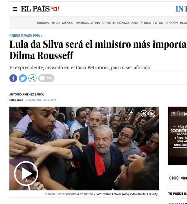 El País afirma que o governo Dilma quer contar com a capacidade de negociação de Lula (Foto: Reprodução/El País)