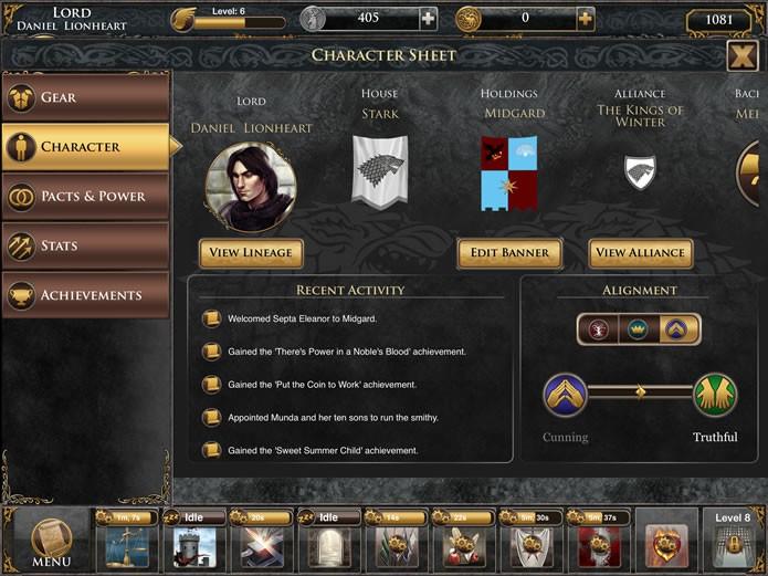 """Ainda na interface acessada pelo botão """"Character"""", o jogador poderá acompanhar o progresso de seu alinhamento e suas conquistas e alterar sua bandeira heráldica (Foto: Reprodução/Daniel Ribeiro)"""