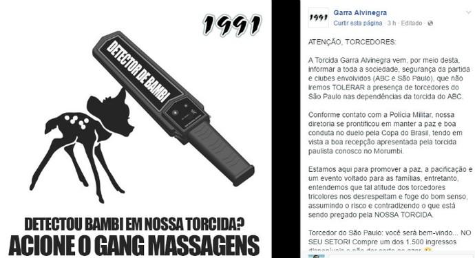 Garra Alvinegra polêmica ABC  (Foto: Reprodução)