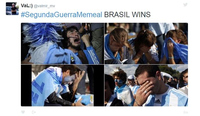 Brasil já declarou a vitória contra Argentina (Foto: Reprodução/Twitter)