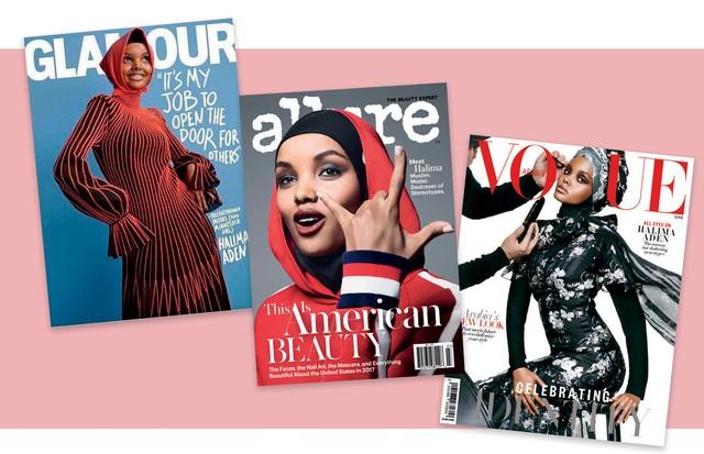 A partir da esquerda, Halima nas capas da Glamour americana de setembro passado, da Allure americana de julho e da Vogue Arábia de junho, algumas de suas conquistas como modelo este ano (Foto: Divulgação)