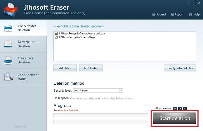 O usuário pode acompanhar o progresso da eliminação de documentos (Foto: Reprodução/Marcela Vaz)
