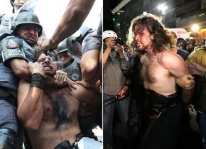 Rafael Marques Lusvarghi, detido no protesto no dia 12 de junho e nesta segunda (23) na Avenida Paulista (Foto: Estadão Conteúdo)