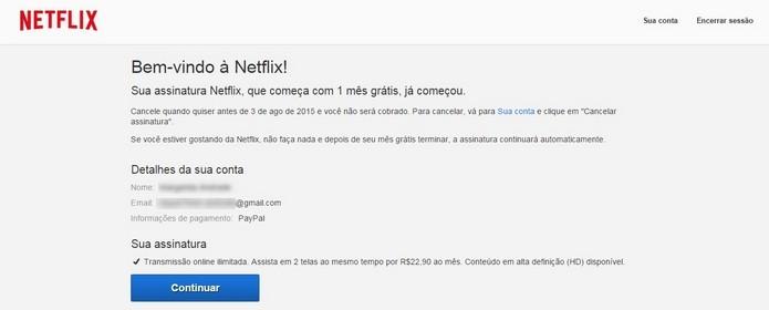Mensagem de confirmação da assinatura do Netflix via PayPal (Foto: Reprodução/Raquel Freire)