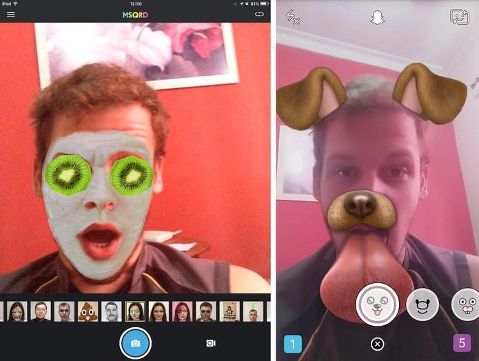 MSQRD possui algumas falhas na animação enquanto Snapchat oferece melhores resultados (Foto: Reprodução/Elson de Souza)