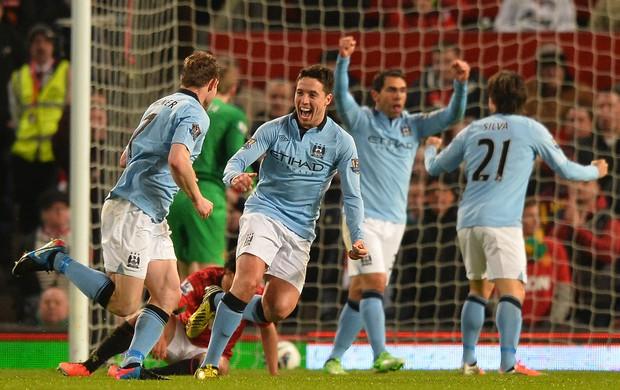 Nasri City comemora, Manchester United x Manchester City (Foto: AFP)