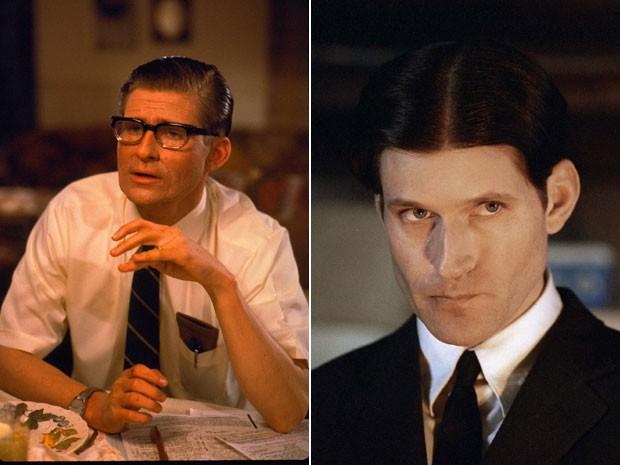 Crispin Glover, à esquerda, como George McFly em 'De volta para o futuro' (1985) e, à direita, em 'A vingança de Willard', lançado em 2003 (Foto: Divulgação)