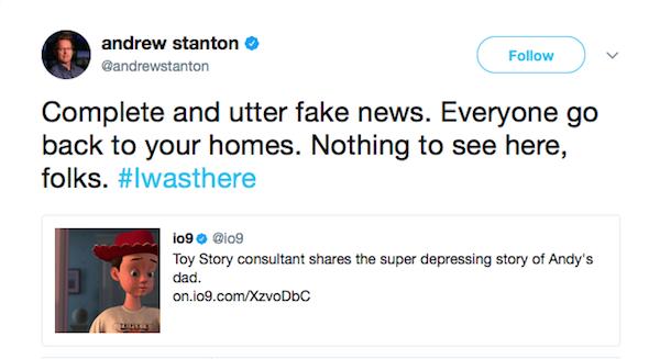 Andrew Stanton, diretor e roteirista da série Toy Story, nega a teoria sobre o pai de Andy (Foto: Twitter)