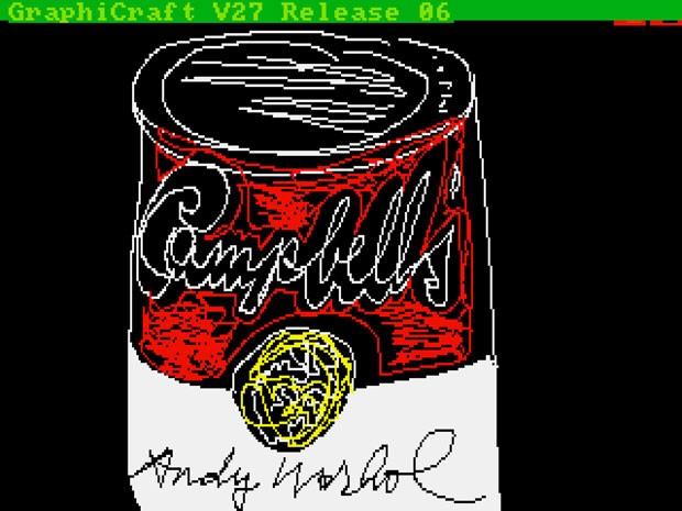 'Campbell's', desenho feito por Andy Warhol em um computador Commodore Amiga em 1985 (Foto: Diculgação/The Andy Warhol Museum)