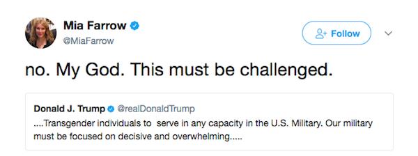 A crítica de Mia Farrow à decisão de Donald Trump  (Foto: Twitter)
