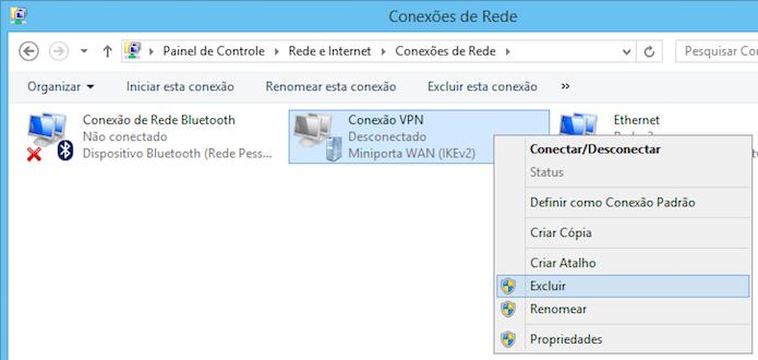Excluindo conexão VPN (Foto: Reprodução/Helito Bijora)
