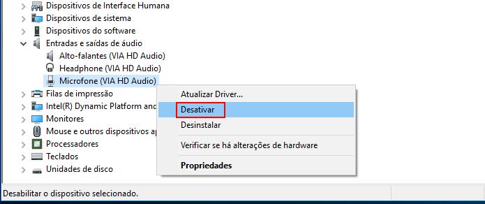 Iniciando a desativação do microfone no Windows (Foto: Reprodução/Edivaldo Brito)