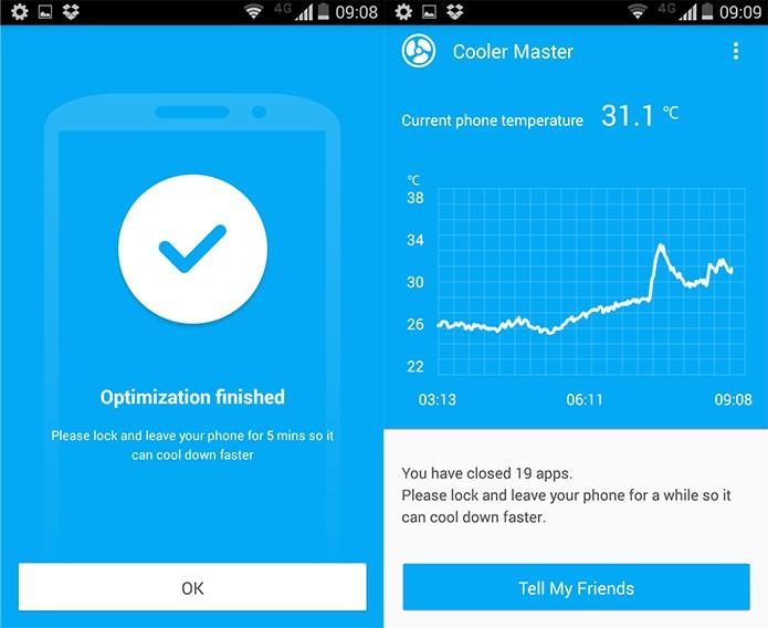 Enquanto o gráfico estiver azul, o seu smart estará em uma faixa aceitável de temperatura (Reprodução)