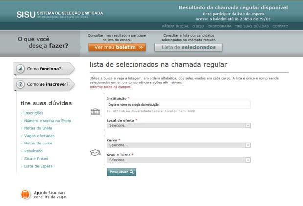 É possível consultar a lista de selecionados de acordo com a instituição e o curso  (Foto: Reprodução)