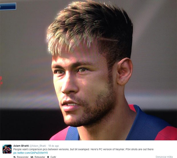 Visual de Neymar em 'Pro Evolution Soccer 2015' para consoles da nova geração, o PlayStation 4 e o Xbox One (Foto: Divulgação/Konami/Adam Bhatti)