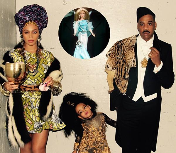 Beyoncé, Blue Ivy e Jay-Z. Em destaque: a Barbie com diamantes (Foto: Reprodução / Tumblr)