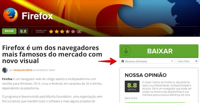 Baixando a versão Portable do Firefox (Foto: Reprodução/Helito Bijora)