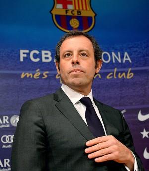 Sandro Rosell presidente do Barcelona coletiva renuncia (Foto: AP)