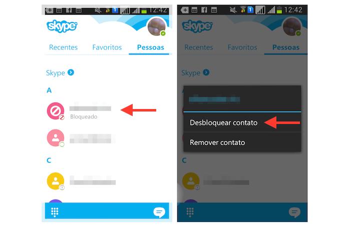 Desbloqueando um contato no Skype para Android (Foto: Reprodução/Marvin Costa)