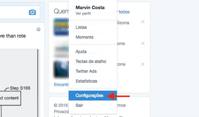Ação para acessar as configurações do Twitter para desativar o filtro de qualidade para tuítes (Foto: Reprodução/Marvin Costa)