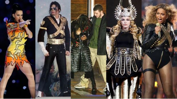 Katy Perry, Michael Jackson, Janet Jackson, Justin Timberlake, Madonna e Beyoncé foram alguns dos artistas que já causaram no Super Bowl (Foto: Christopher Polk/ Getty Images/ AFP | Steve Granitz / Contributor / Getty Images | Jeff Kravitz / Contributor / Getty Images | Reuters/ Agência | Christopher Polk/Getty Images/AFP)